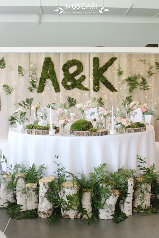 Góra Dekoracja na stół pary młodej podczas przyjęcia weselnego | Muscari RF29